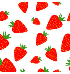 Strawberries seamless pattern on the white vector