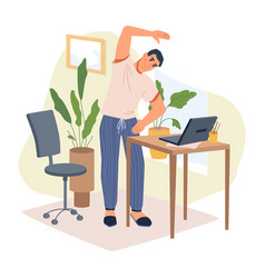 Stretching man in casual cloth computer and table vector