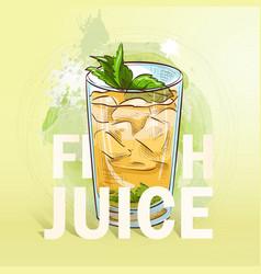 Summer fresh juice cocktail vector