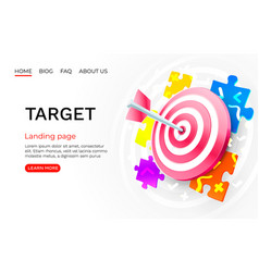 Target puzzle landing page banner business 3d vector