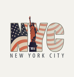 the letters nyc with the image of american flag vector image