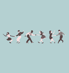 Three lindy hop dancing couples silhouettes vector