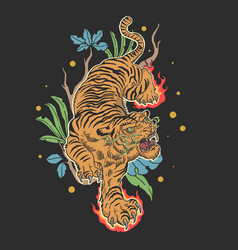 tiger tattoo design with floral vector image