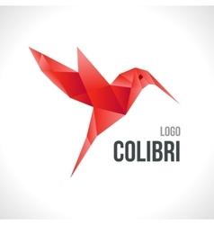 Triangle polygonal red colibri vector