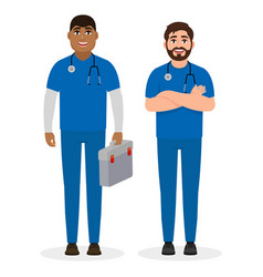 two male doctors different ethnic vector image