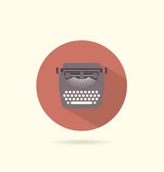 Typewriter flat round icon vector