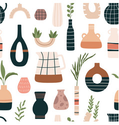 vase seamless pattern ceramic vases jugs and vector image