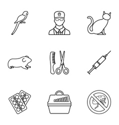 Veterinary animals icons set outline style vector