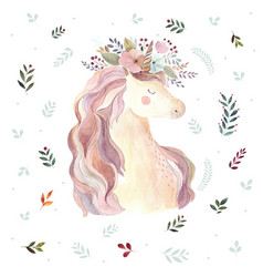 Vintage with cute unicorn vector