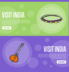 Visit india touristic web banners vector