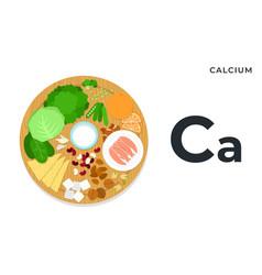 Vitamin ca or calcium in flat vector