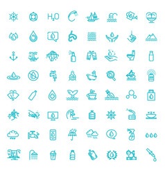 Water icon set in thin line style vector