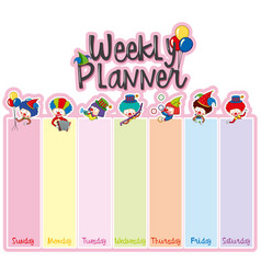 Weekly planner note template with happy clowns vector