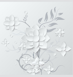 White flower and bouquet beautiful paper art 3d vector