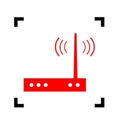 Wifi modem sign red icon inside black vector