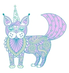 Zentangle magic color cat unicorn black vector