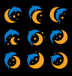blue dolphin yellow moon and starry sky logo set vector image
