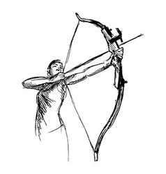 Hand sketch woman shooting a bow and arrow vector image vector image