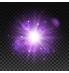 Light shining in space with lens flare effect vector image vector image
