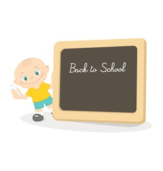 Little boy and school blackboard vector image