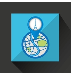 Mobile device tower eiffel france gps map vector