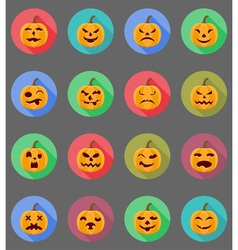 pumpkins for halloween flat icons 19 vector image