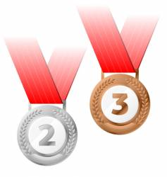 silver and bronze medals vector image vector image