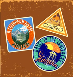 Vintage travel stickers 1 vector
