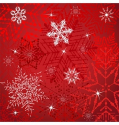 White Snowflakes On A Red Background vector image