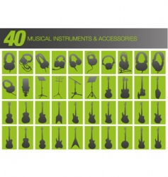 40 musical instruments and accessories vector image
