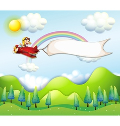 A monkey riding in a red airplane with an empty vector image