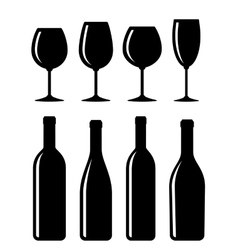bottle and glass set vector image
