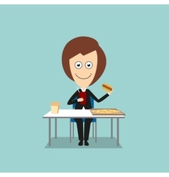 Business woman having fast food lunch vector image vector image