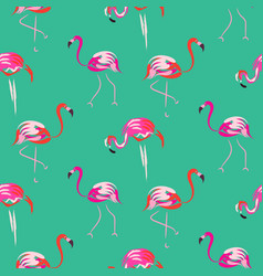 hand drawn pink flamingo bird mint seamless vector image vector image
