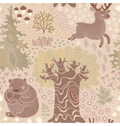 Seamless pattern with deer bears in the woods vector image vector image
