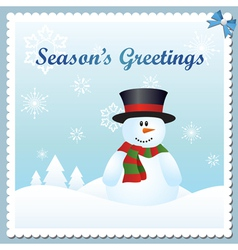 Snowman greeting card vector image vector image