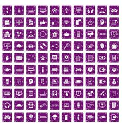 100 programmer icons set grunge purple vector image vector image