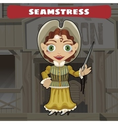 Cartoon character of Wild West - seamstress vector image vector image