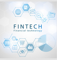 financial technology icons with hexagon background vector image vector image