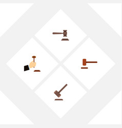 Flat icon hammer set of defense legal law and vector