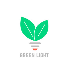 green light with leafs and bulb vector image