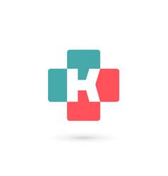 letter k cross plus medical logo icon design vector image vector image