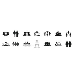 people group icon set simple style vector image