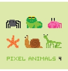 Pixel art style animals cartoon set 4 vector image vector image