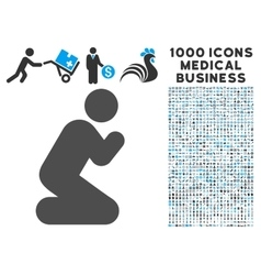 Pray Pose Icon with 1000 Medical Business vector image