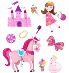 Princess elements set vector