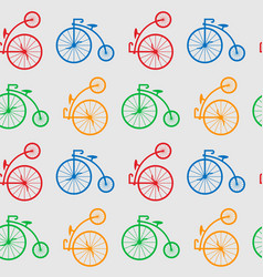 seamless pattern with retro big wheel bicycles vector image