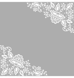 white lace on gray background vector image vector image