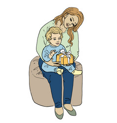 woman and her baby with gift vector image