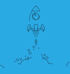 minimalistic rocket launch line icon rocket vector image vector image